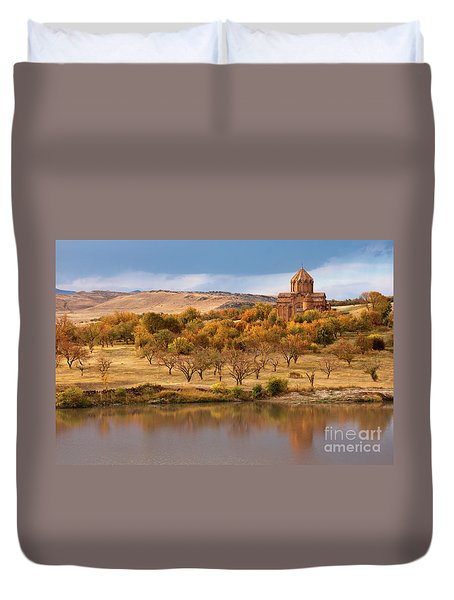 Marmashen Monastery Reflected On Lake At Autumn, Armenia Duvet Cover