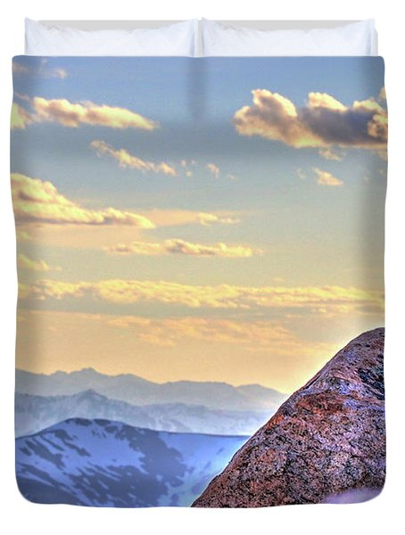 Marmot At Sunset Duvet Cover