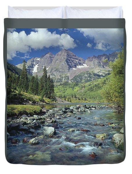 210404-maroon Bells And Creek  Duvet Cover