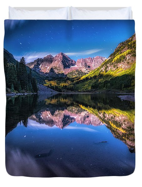 Maroon Bells By Moonlight Duvet Cover