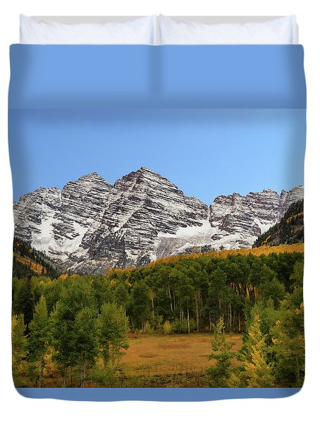 Duvet Cover featuring the photograph Maroon Bells by Dana Sohr