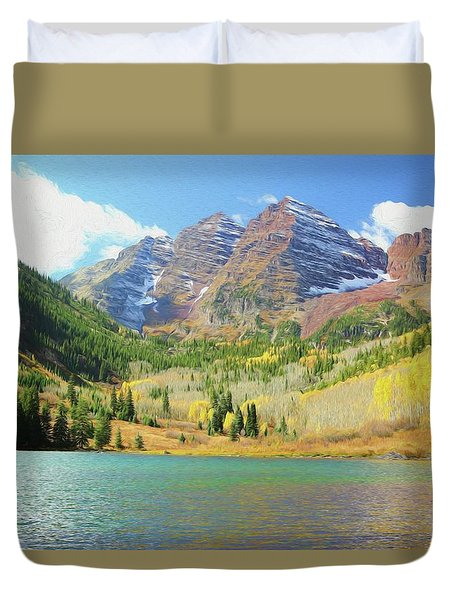 Duvet Cover featuring the photograph The Maroon Bells Reimagined 2 by Eric Glaser