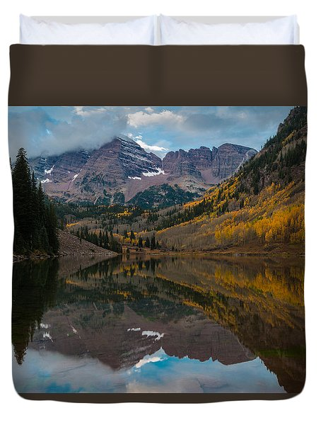 Duvet Cover featuring the photograph Maroon Bells by Gary Lengyel