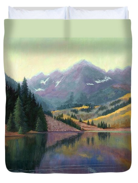 Duvet Cover featuring the painting Maroon Bells In October by Janet King