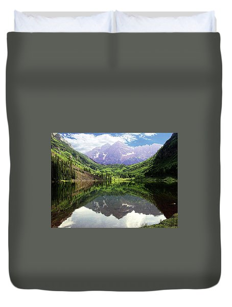 Duvet Cover featuring the photograph Maroon Bells  by Jerry Battle