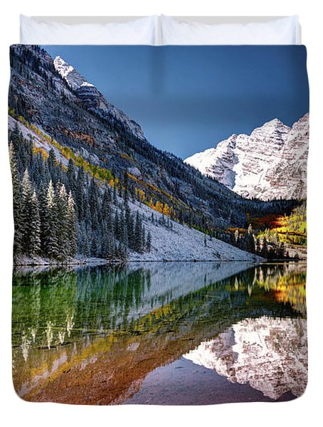 Olena Art Sunrise At Maroon Bells Lake Autumn Aspen Trees In The Rocky Mountains Near Aspen Colorado Duvet Cover