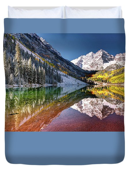 Maroon Bells At Dawn Duvet Cover