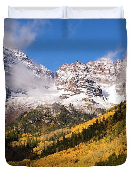 Duvet Cover featuring the photograph Maroon Bells by Steve Stuller