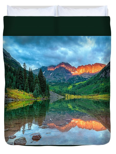 Maroon Bells Sunrise Duvet Cover