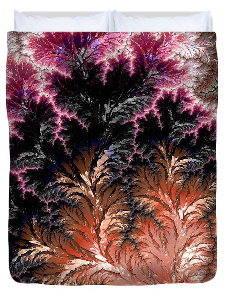 Maroon, Black And Orange Fractal Design Duvet Cover