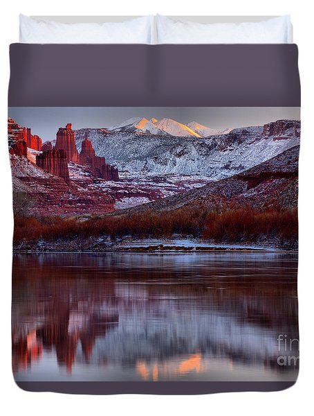 Duvet Cover featuring the photograph Maroon Fisher Towers by Adam Jewell