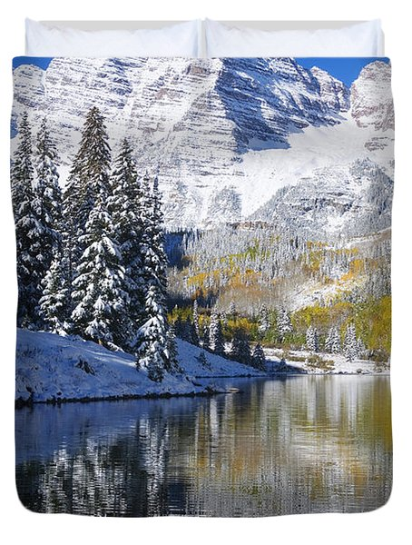 Maroon Lake And Bells 2 Duvet Cover