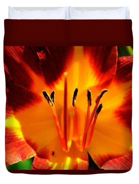 Maroon Lily Duvet Cover