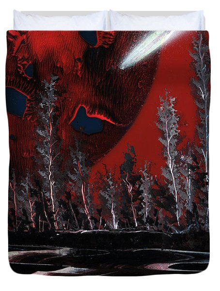Duvet Cover featuring the painting Maroon Moon Mania by Jason Girard