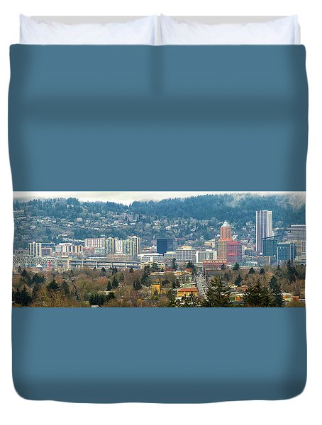 Marquam Bridge By Portland City Skyline Panorama Duvet Cover by David Gn