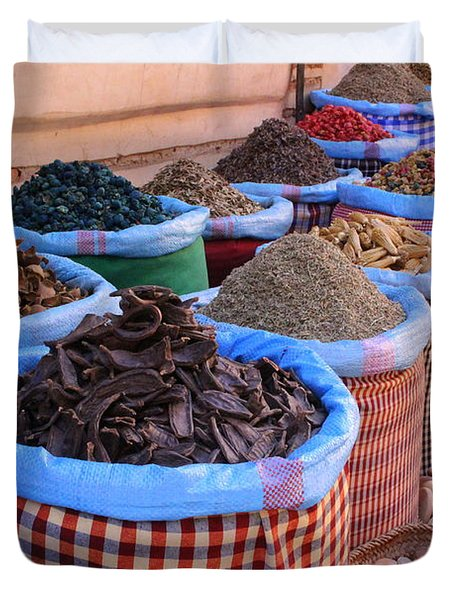 Duvet Cover featuring the photograph Marrakech Spice Market by Ramona Johnston