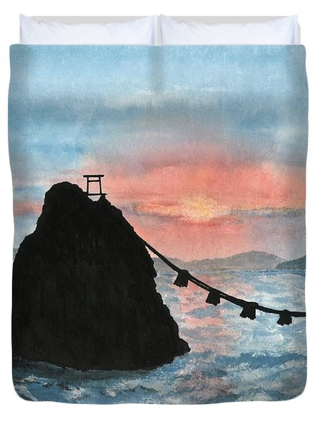 Married Couple Rocks At Sunrise Duvet Cover