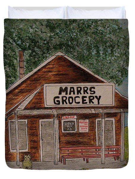 Duvet Cover featuring the painting Marrs Country Grocery Store by Kathy Marrs Chandler