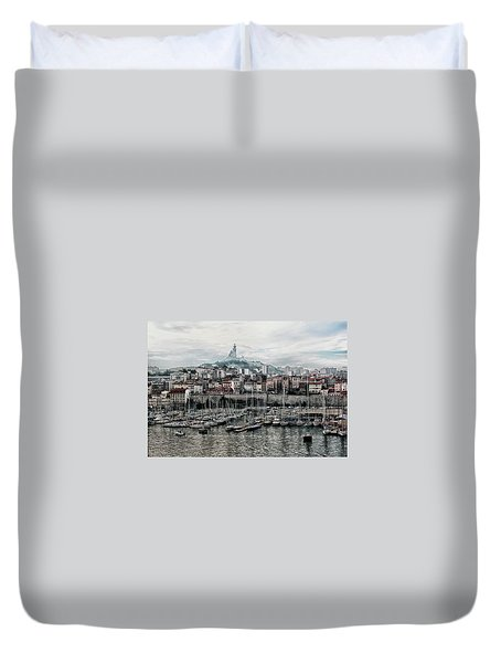 Duvet Cover featuring the photograph Marseilles France Harbor by Alan Toepfer