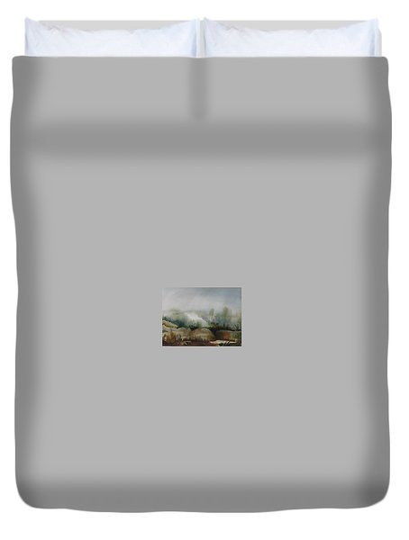 Duvet Cover featuring the painting Marsh by Anna  Duyunova