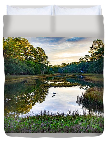 Marsh In The Morning Duvet Cover