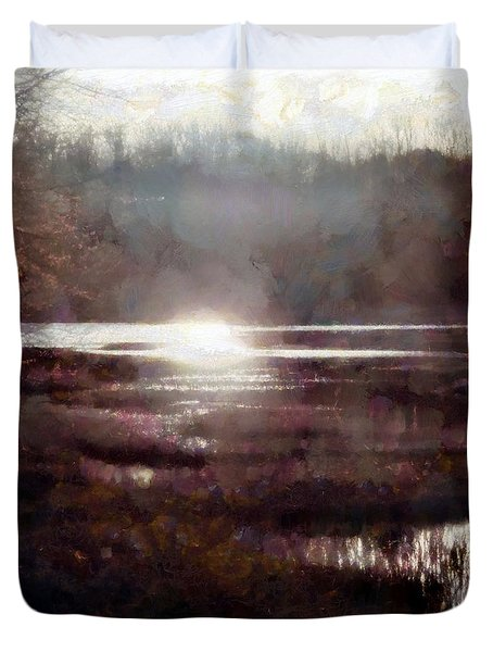 Duvet Cover featuring the photograph Marsh Moods - At The End Of The Day - Vertical by Janine Riley