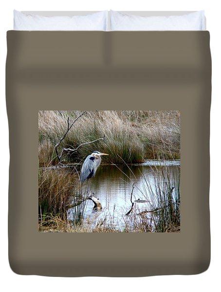 Marsh Pond Great Blue Heron Duvet Cover by Phyllis Beiser