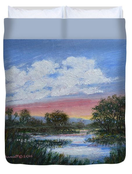 Duvet Cover featuring the painting Marsh Reflections by Kathleen McDermott