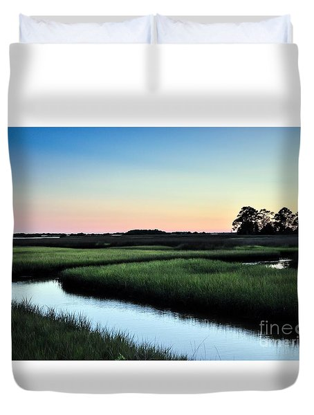 Marsh Sunset Duvet Cover by Debbie Green