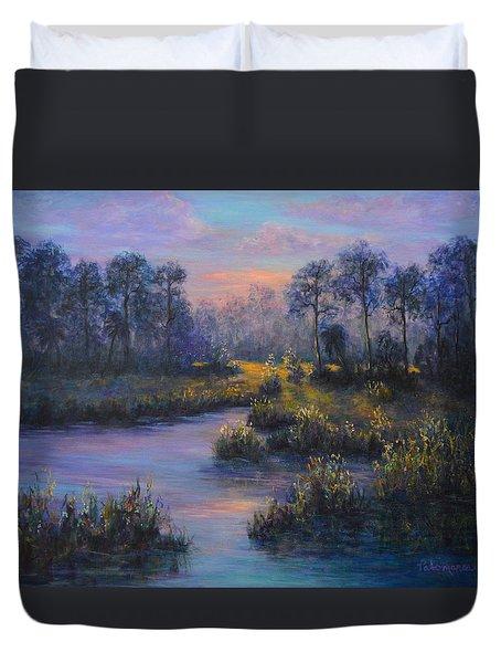 Marsh Sunset Nature Wetland Trees Print Of Panting Duvet Cover