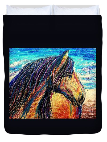 Duvet Cover featuring the painting Marsh Tacky Wild Horse by Patricia L Davidson