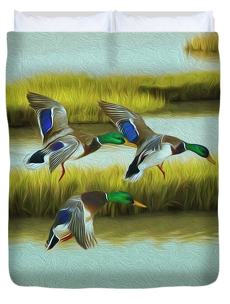 Marsh Wetland Mallard Ducks Duvet Cover