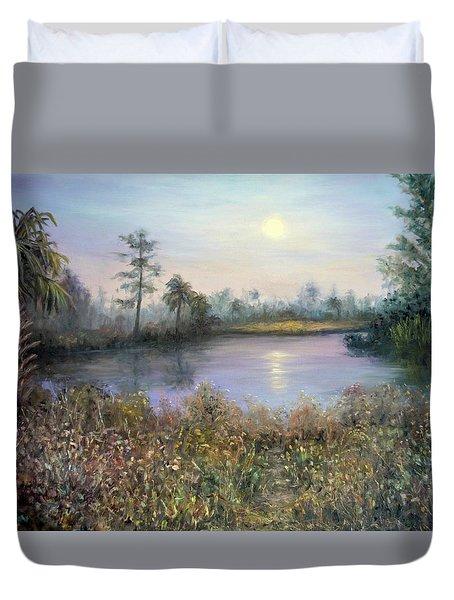 Marsh Wetland Moon Landscape Painting Duvet Cover