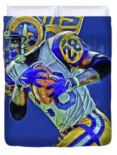 Marshall Faulk Los Angeles Rams Oil Art Duvet Cover