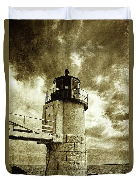 Marshall Point Lighthouse Sepia Distessed Antique Look Duvet Cover