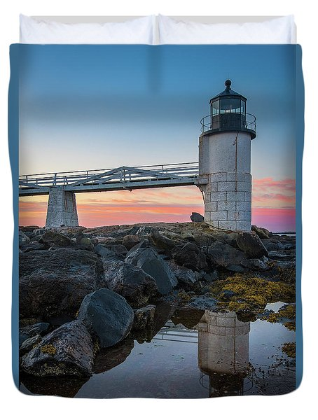 Marshall Point Reflection At Sunrise Duvet Cover