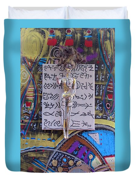 Duvet Cover featuring the painting Marshmallow Herbal Tincture by Clarity Artists