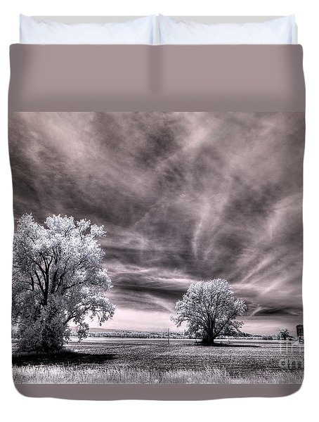 Duvet Cover featuring the digital art Marthasville Barn by William Fields