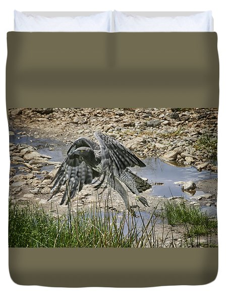 Duvet Cover featuring the photograph Martial Eagle by Gary Hall