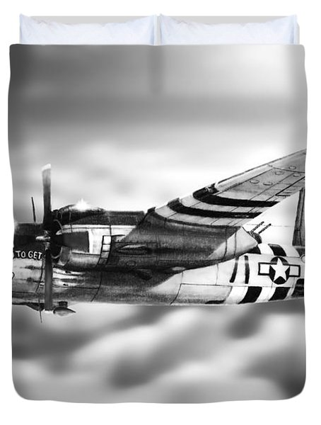 Martin B-26 Marauder Drawing Duvet Cover