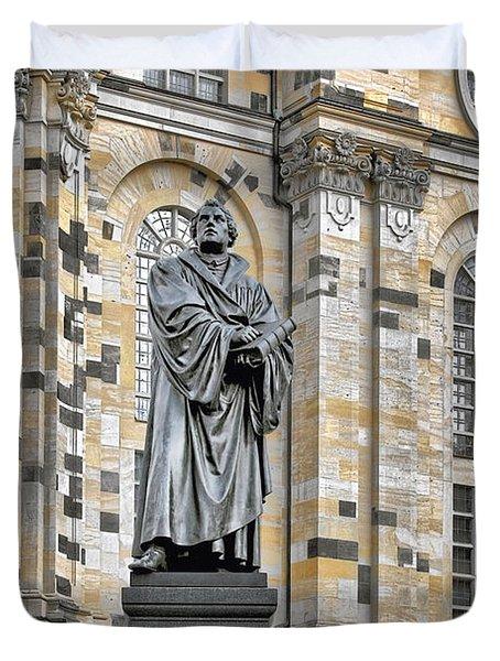 Martin Luther Monument Dresden Duvet Cover by Christine Till