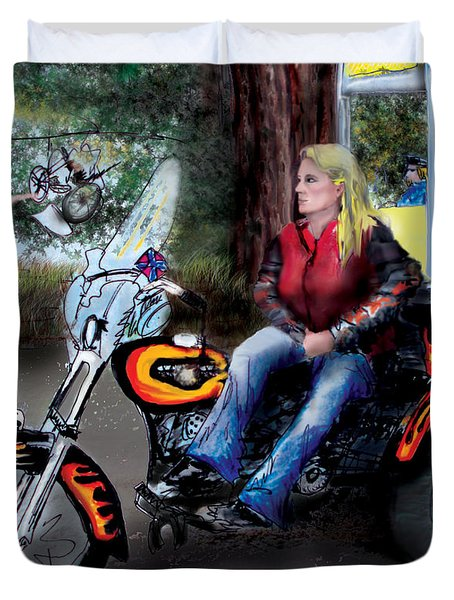 Marty's Harley Duvet Cover by Albert Puskaric