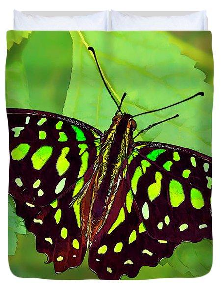 Marvelous Malachite Butterfly 2 Duvet Cover