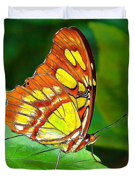 Marvelous Malachite Butterfly Duvet Cover