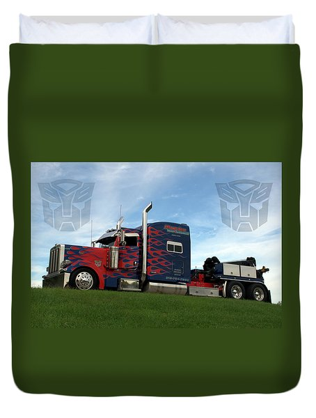 Transformers Optimus Prime Tow Truck Duvet Cover by Tim McCullough