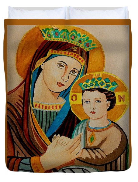 Duvet Cover featuring the painting Mary And A Young Jesus by Betty-Anne McDonald