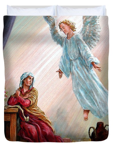 Mary And Angel Duvet Cover by John Lautermilch