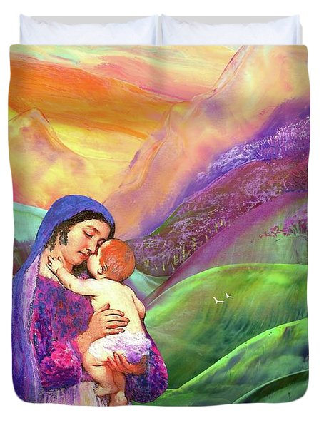 Mary And Baby Jesus Gift Of Love Duvet Cover