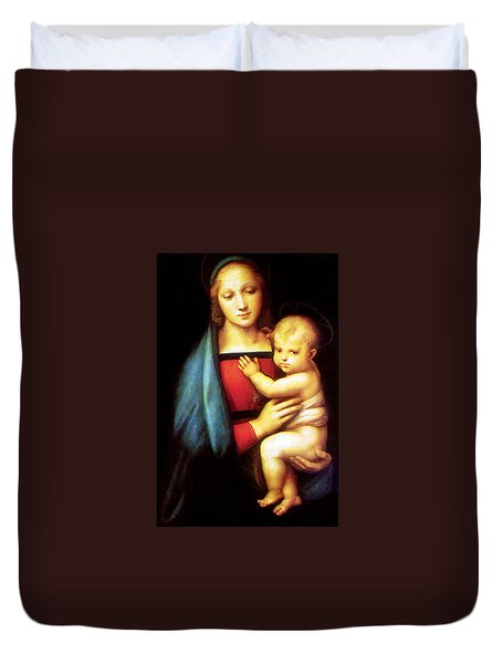 Mary And Baby Jesus Duvet Cover by Munir Alawi
