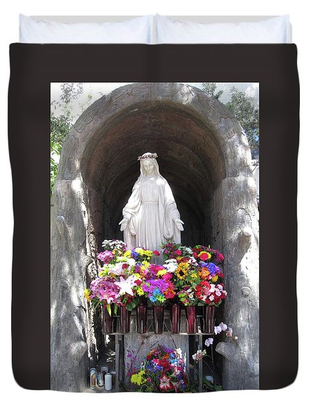 Mary At The Mission Duvet Cover by Mary Ellen Frazee